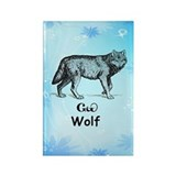 Young Cherokee Wolf Rectangle Magnet