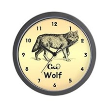 Young Cherokee Wolf Wall Clock