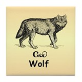 Young Cherokee Wolf Tile Coaster