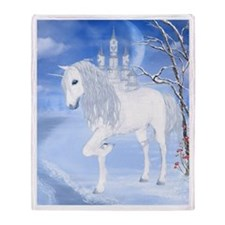 The White Unicorn Throw Blanket