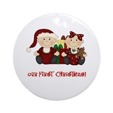 Twin Boy and Girl 1st Christmas Ornament (Round)