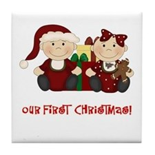 Twin Boy and Girl 1st Christmas Tile Coaster