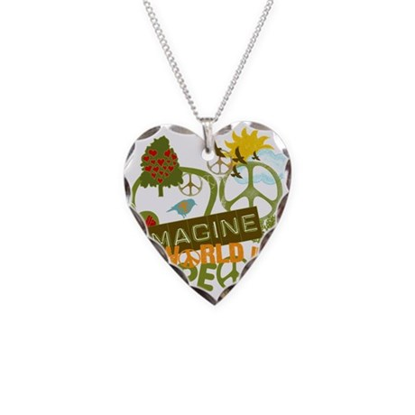 Imagine Peace Necklace Heart Charm