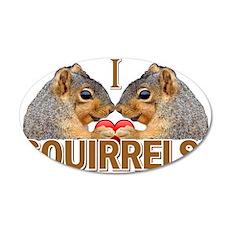 I Heart / Love Squirrels! 38.5 x 24.5 Oval Wall Pe