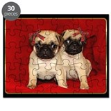 Christmas Pug Puppies Puzzle