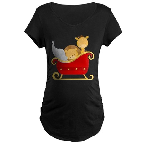 Christmas Sleigh Baby Animals Maternity Dark T-Shi