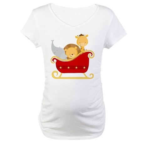 Christmas Sleigh Baby Animals Maternity T-Shirt