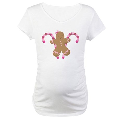 Christmas Candy Gingerbread Maternity T-Shirt