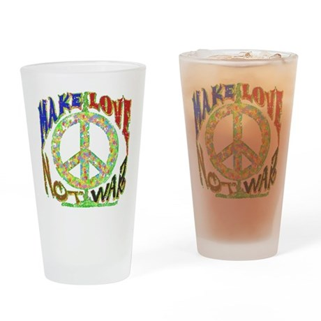 Love not War Drinking Glass