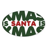 Santas Xmas Sticker (Oval 50 pk)
