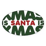 Santas Xmas Sticker (Oval 10 pk)
