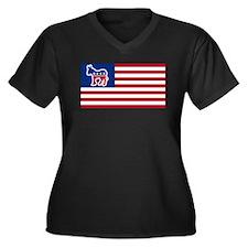 Democrat Women's Plus Size V-Neck Dark T-Shirt