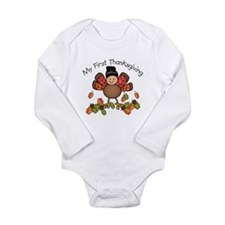 Cute Turkey girl Long Sleeve Infant Bodysuit
