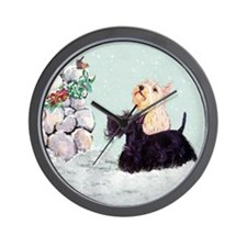 Scotties and Wren Winter Wall Clock
