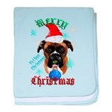 Wonderful-Christmas Boxer Dog baby blanket