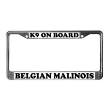 K9 On Board Belgian Malinois License Plate Frame