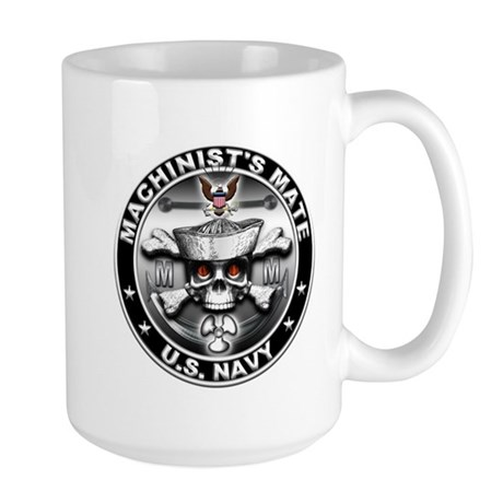 USN Machinists Mate Skull MM Large Mug