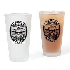 USN Navy Diver Skull ND Drinking Glass