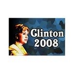 Clinton 2008 Dark Blue Rectangle Magnet