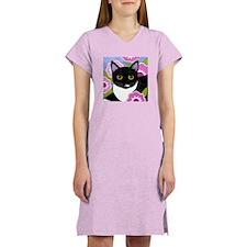 SASSY Black and White Tuxedo CAT Women's Nightshir
