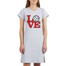 Volleyball Love - Red Women's Nightshirt