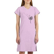 Blowing Dandelion Black Women's Nightshirt