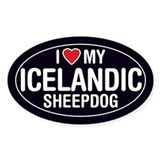 I Love My Icelandic Sheepdog Oval Sticker/Decal