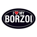 I Love My Borzoi Oval Sticker/Decal