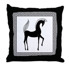 Greek Horse Black and White Throw Pillow