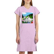 WHITE GERMAN SHEPHERD DOGS Women's Pink Nightshirt