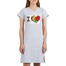 I heart parakeets (Green) Women's Nightshirt