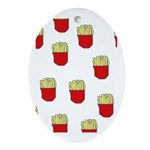 French Fries Dots Oval Ornament