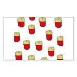 French Fries Dots Rectangle Sticker