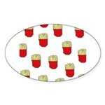 French Fries Dots Oval Sticker