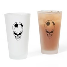 Soccer skull Drinking Glass