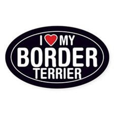 I Love My Border Terrier Oval Sticker/Decal