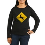 Deer crossing Women's Long Sleeve Dark T-Shirt