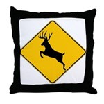 Deer crossing Throw Pillow