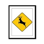 Deer crossing Framed Panel Print