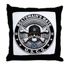 USCG Boatswains Mate Skull BM Throw Pillow