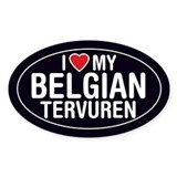 I Love My Belgian Tervuren Oval Sticker/Decal