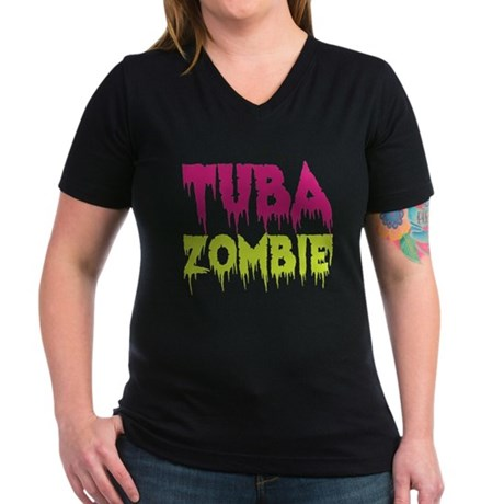 Tuba Zombie Women's V-Neck Dark T-Shirt