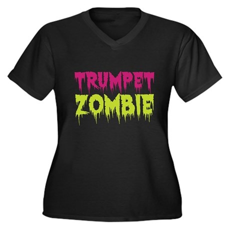 Trumpet Zombie Women's Plus Size V-Neck Dark T-Shi