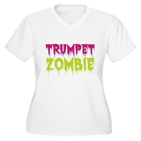 Trumpet Zombie Women's Plus Size V-Neck T-Shirt