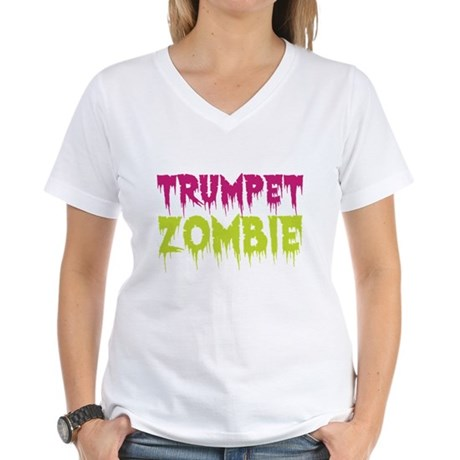 Trumpet Zombie Women's V-Neck T-Shirt