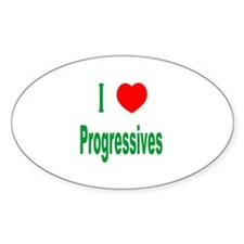 I Love (Heart) Progressives Oval Decal
