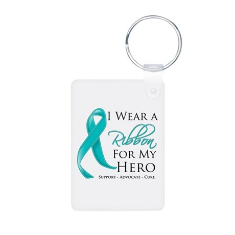 Hero Ribbon Cancer Aluminum Photo Keychain