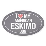 I Love My American Eskimo Dog Oval Sticker/Decal