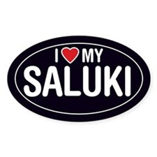 I Love My Saluki Oval Sticker/Decal