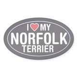 I Love My Norfolk Terrier Oval Sticker/Decal